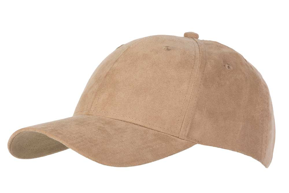100% Faux Suede Polyester Fabric 6 panel cap with buckle adjuster to the rear.