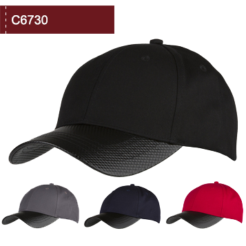 C6730 6 Panel Cotton Cap with Carbon Effect Peak