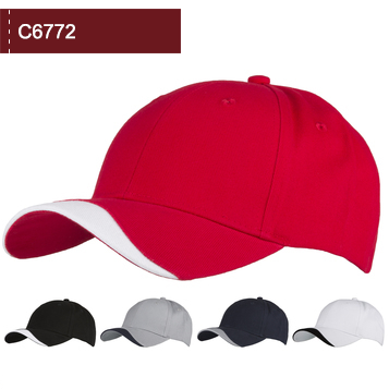 C6772 Chino Cotton 6 Panel Cap with Wave trim to the peak.