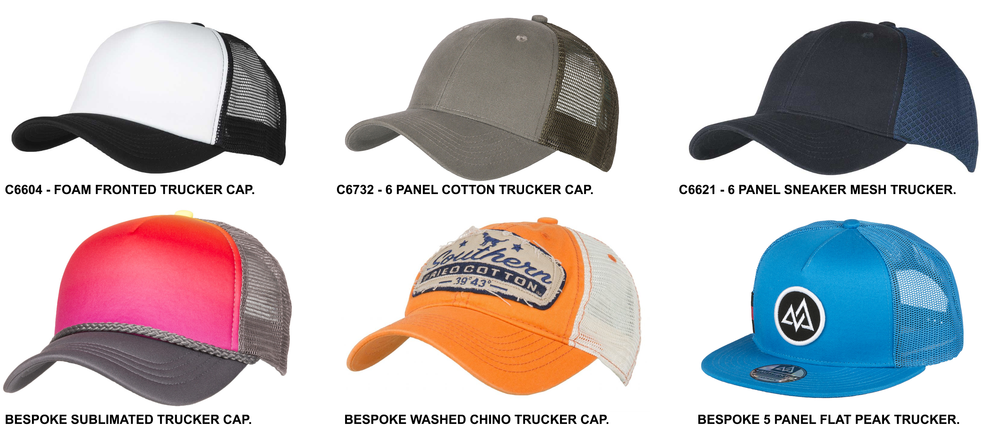 STOCK AND BESPOKE TRUCKER CAPS - Sharon Lee Ltd df7e3ad8165
